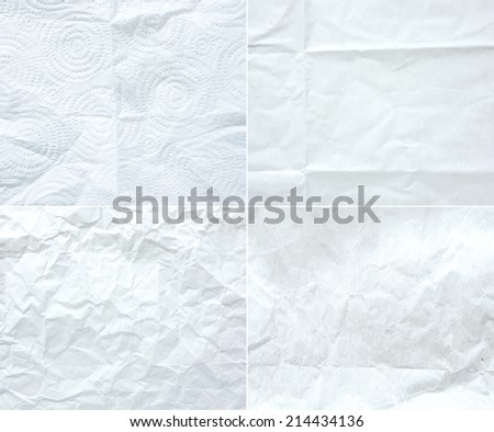 collection of white wrinkle paper, texture background,four style of crumple paper - stock photo