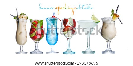 Collection of widely known refreshing summer alcoholic cocktails: pina colada,daiquiri,mojito and blue lagoon - stock photo