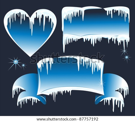 Collection of winter banners with icicles - stock photo