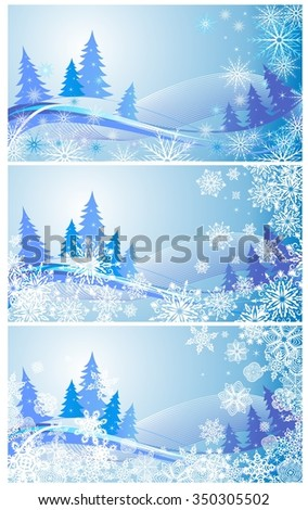 Collection of winter blue banners with paper snowflakes