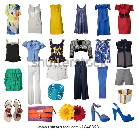 collection of woman clothes and accessories - stock photo