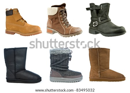 collection of woman winter boots isolated