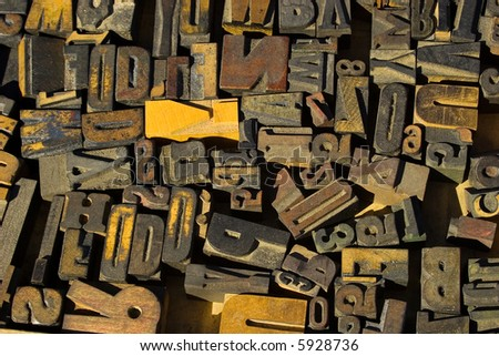 collection of wood type blocks - stock photo
