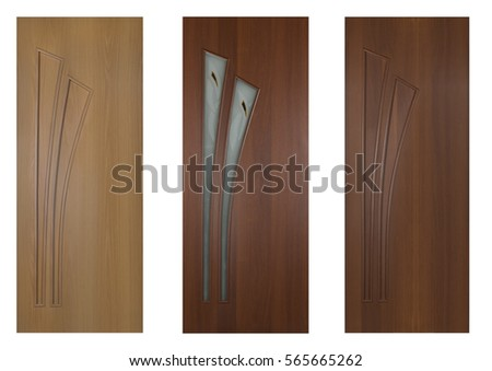 Collection of wooden entrance doors isolated on white