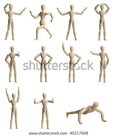 Collection of Wooden Mannequin - stock photo
