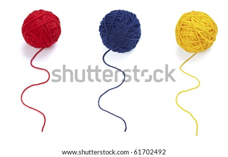 collection of wool knitting on white background. each one is in full camera resolution - stock photo