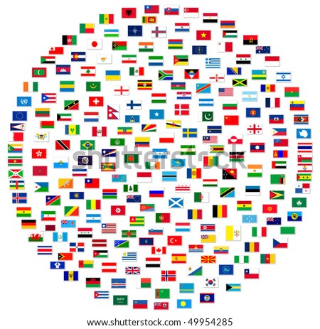 Collection of world flags on white isolated - stock photo