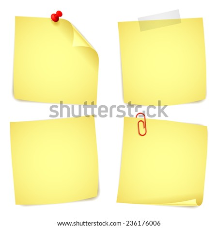Collection of 4 yellow paper notes. - stock photo