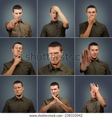 Collection of young male face negative expressions on dark background - stock photo