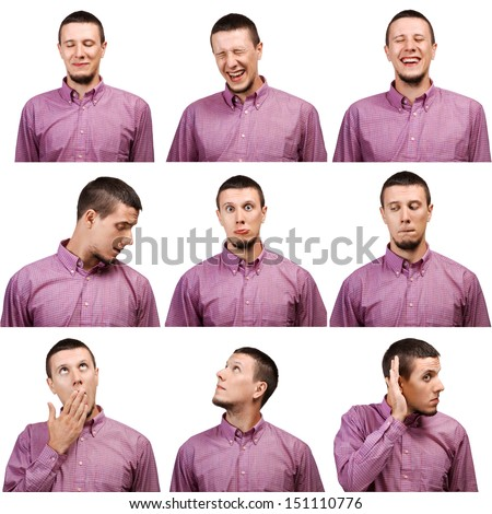 Collection of young man face expressions isolated on white background - stock photo