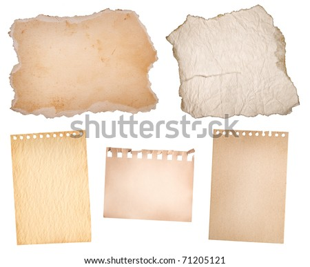 collection old  paper  isolated on white - stock photo