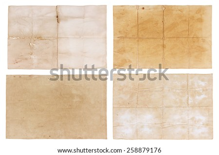 collection old paper isolated on white background.