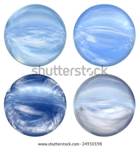 collection or group of 3d blue glass spheres isolated on white background,ideal for 3D symbols, signs or web buttons. It is a sphere reflecting a blue sky with clouds - stock photo