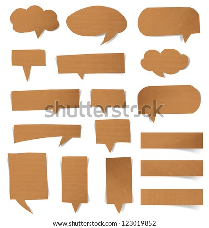 Collection paper speech bubble, isolated on white background (Save Paths For design work)