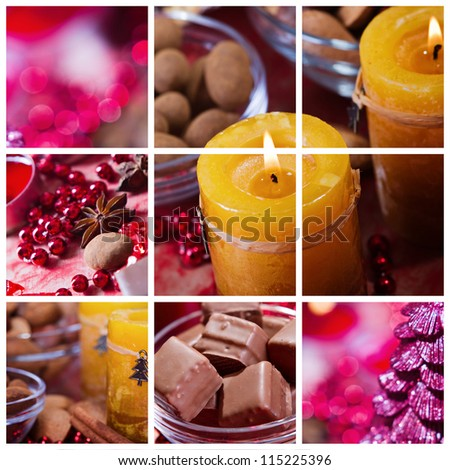 Collection  photos for Christmas in yellow and red tone - stock photo