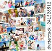 collection photos of a happy families - stock photo