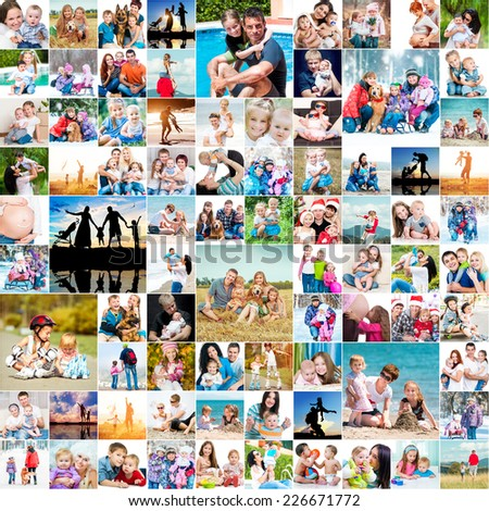 collection photos of happy families - stock photo