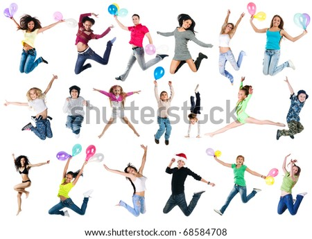 Collection photos of jumping people - stock photo