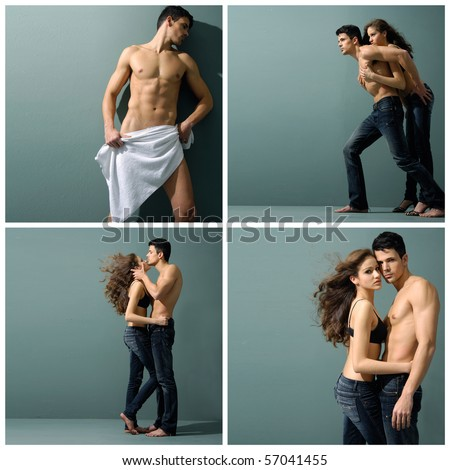 Collection photos of Sexy couple model against gray - stock photo