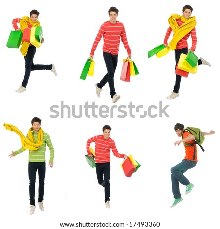 Collection photos of young man with shopping bag, jumping