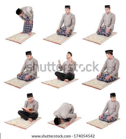 collection portrait of man muslim doing prayer isolated over white background - stock photo