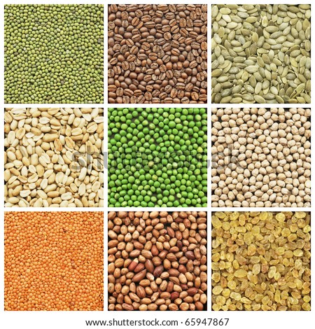 Collection products, peanuts, lentil, chickpeas, coffee, pea - stock photo
