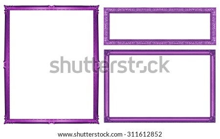 collection purple vintage frame isolated on white background, clipping path. - stock photo