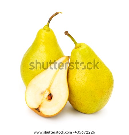 Collection ripe sweet pears isolated on white background - stock photo