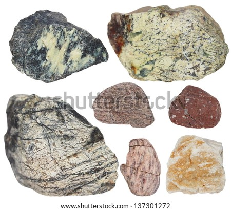 Collection Rocks isolated on white background - stock photo