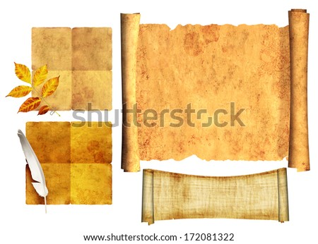 Collection scrolls of old parchment. Objects isolated over white background - stock photo