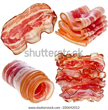 Collection set of Bacon Slices isolated On White Background - stock photo