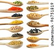 collection set of beans, legumes, peas, lentils on wooden spoons isolated on white background - stock photo
