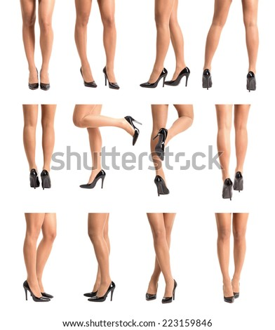 Collection set of beautiful fit woman legs in stockings and high heels in various different poses. Isolated over white. - stock photo