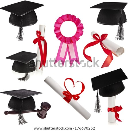Collection set of Black Graduation Caps and diploma scroll Isolated on White Background  - stock photo