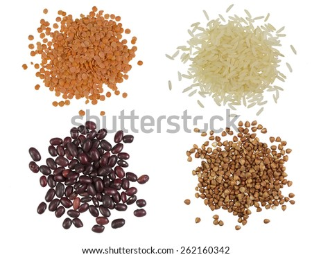 Collection Set of Cereal Grains and Seeds Heaps: rice, buckwheat, lentils, beans - stock photo