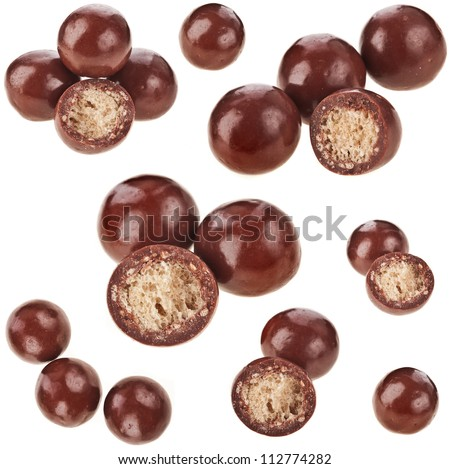 Collection set of Chocolate candy balls  with crisp filling isolated on white  background - stock photo
