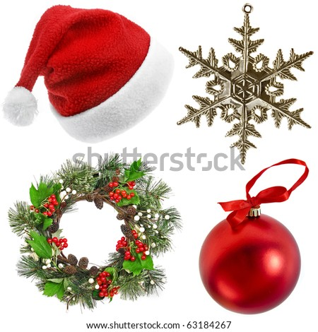 collection set of Christmas decorations on white background - stock photo