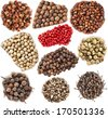 Collection set of colored peppercorn heap close up isolated on white background   - stock photo