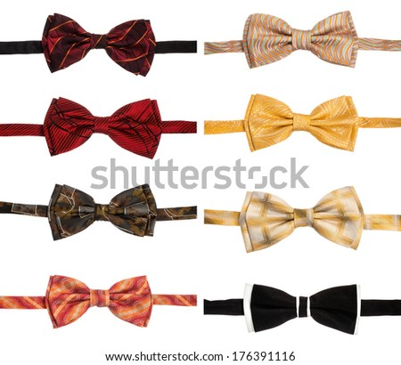 Collection set of colorful ribbon bow ties isolation on a white background  - stock photo