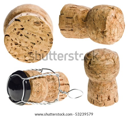Collection set of Cork-stopper of champagne isolated on a over white background