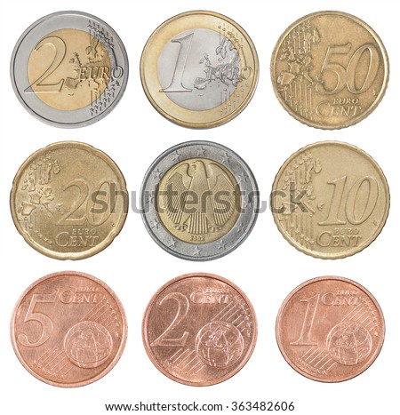 Collection set of euro coins isolated on white background - stock photo