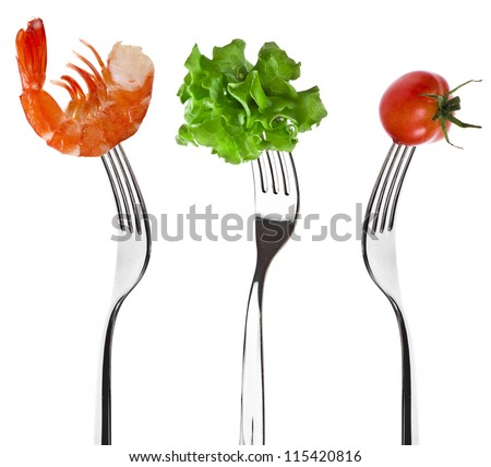 Collection set of foods on a fork isolated on white background - stock photo