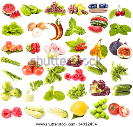 collection set of fresh juicy fruits ,vegetables and berries isolated on white background - stock photo