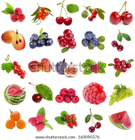 Collection set of fresh ripe fruits and berries close up sign objects isolated on white background