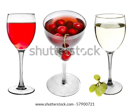 collection set of Glass of Red Wine and White Wine isolated on White Background - stock photo