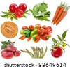 Collection set of heap vegetables close up  isolated on white background  - stock photo