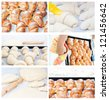 Collection set of images of croissants baking pies. - stock photo