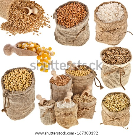 Collection set of kinds of cereal in small burlap bags isolated on white background - stock photo
