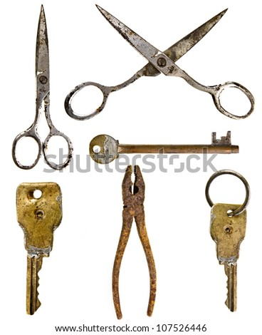 Collection set of old rusty tool : keys , scissors, pliers isolated on white background - stock photo