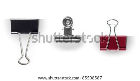 collection set of Paper Clips on white paper. ready for your design - stock photo